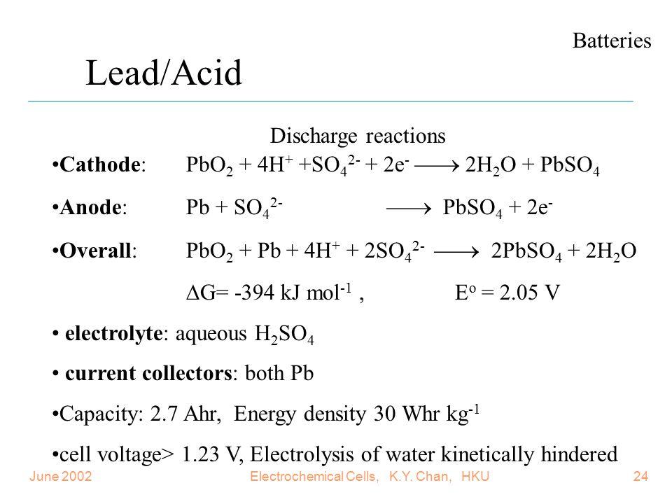 Electrochemical Cells, K.Y. Chan, HKU