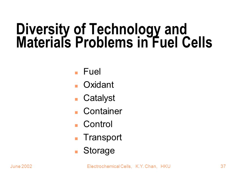 Diversity of Technology and Materials Problems in Fuel Cells