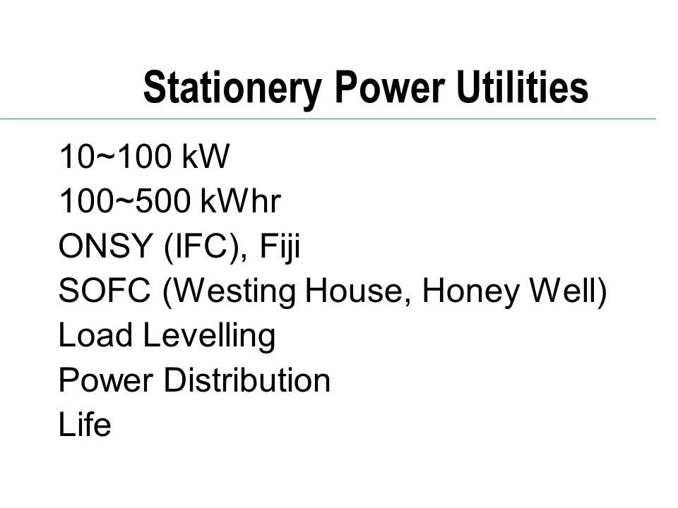 Stationery Power Utilities