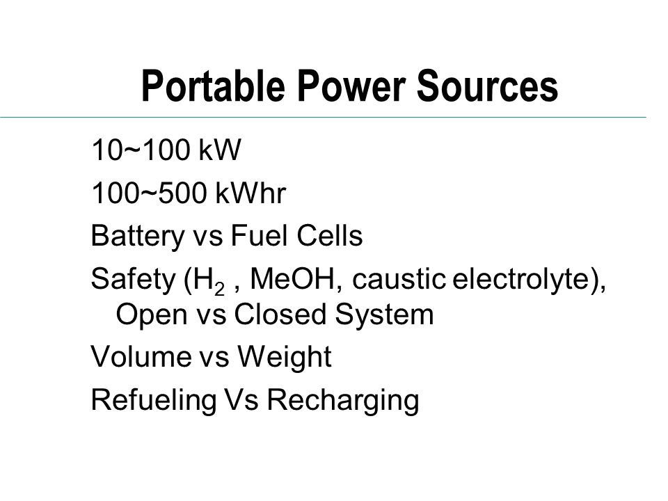 Portable Power Sources
