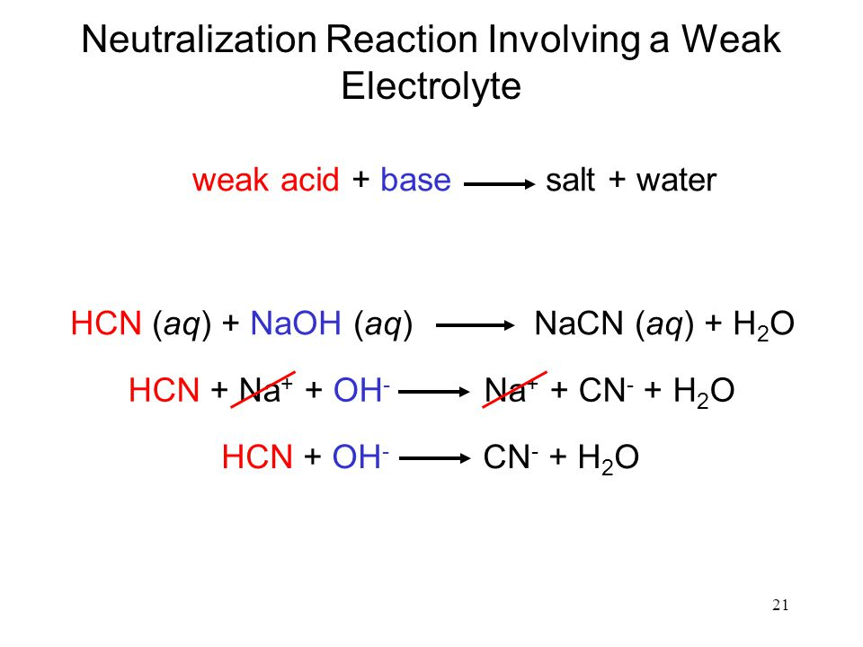 Neutralization Reaction Involving a Weak Electrolyte