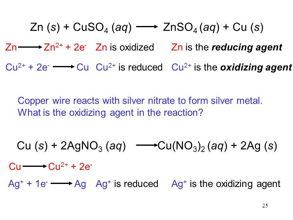 Zn (s) + CuSO4 (aq) ZnSO4 (aq) + Cu (s)