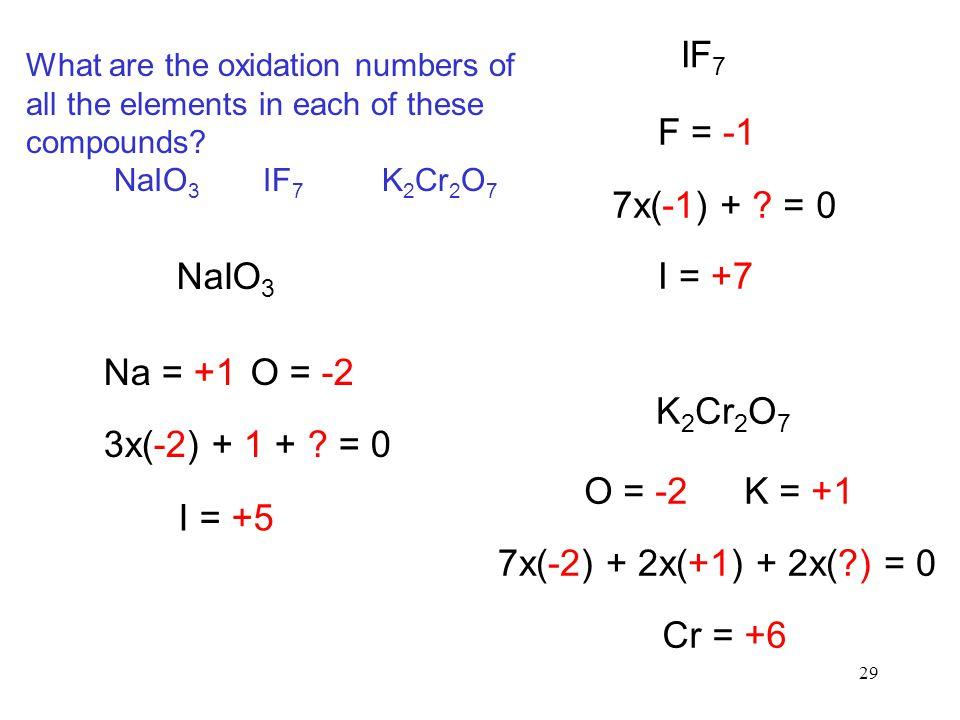 IF7 F = -1 7x(-1) + = 0 NaIO3 I = +7 Na = +1 O = -2 K2Cr2O7
