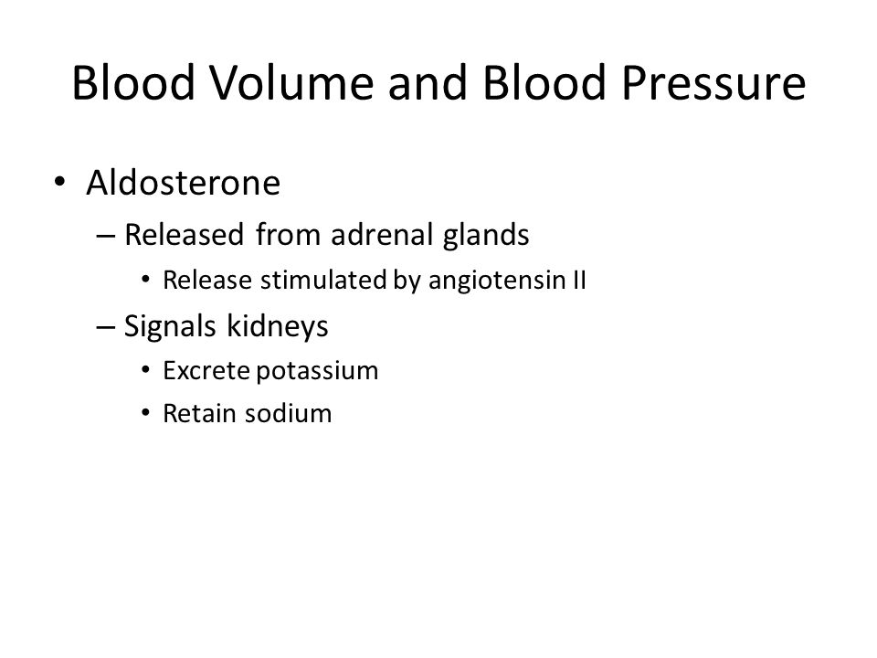 Blood Volume and Blood Pressure
