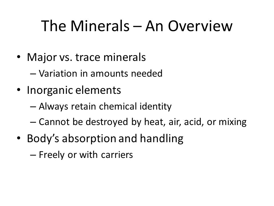 The Minerals – An Overview