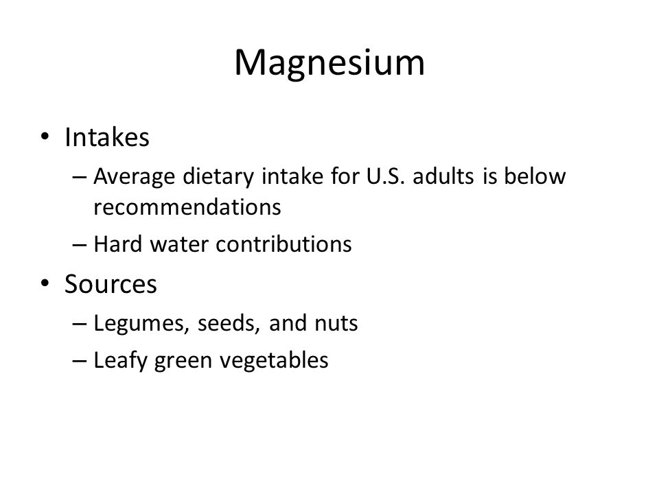 Magnesium Intakes Sources