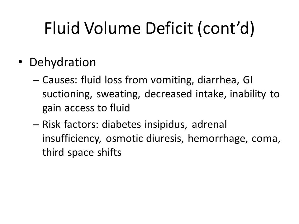 Fluid Volume Deficit (cont'd)