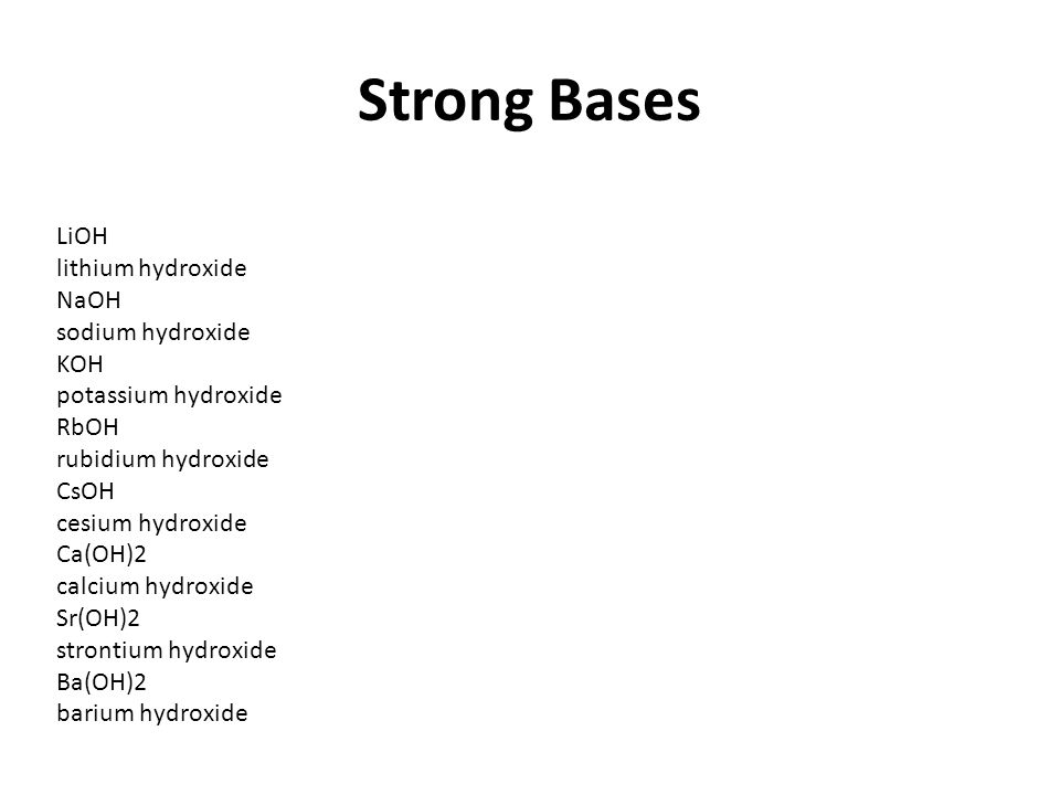Strong Bases LiOH lithium hydroxide NaOH sodium hydroxide KOH