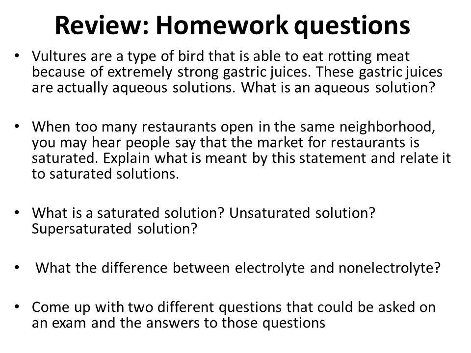 Review: Homework questions