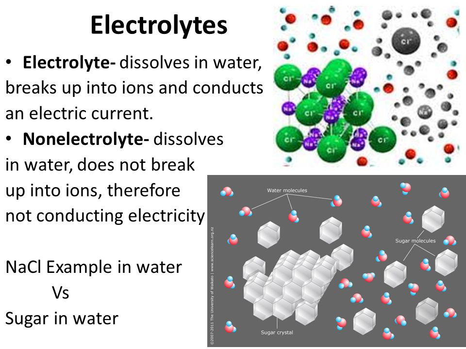 Electrolytes Electrolyte- dissolves in water,