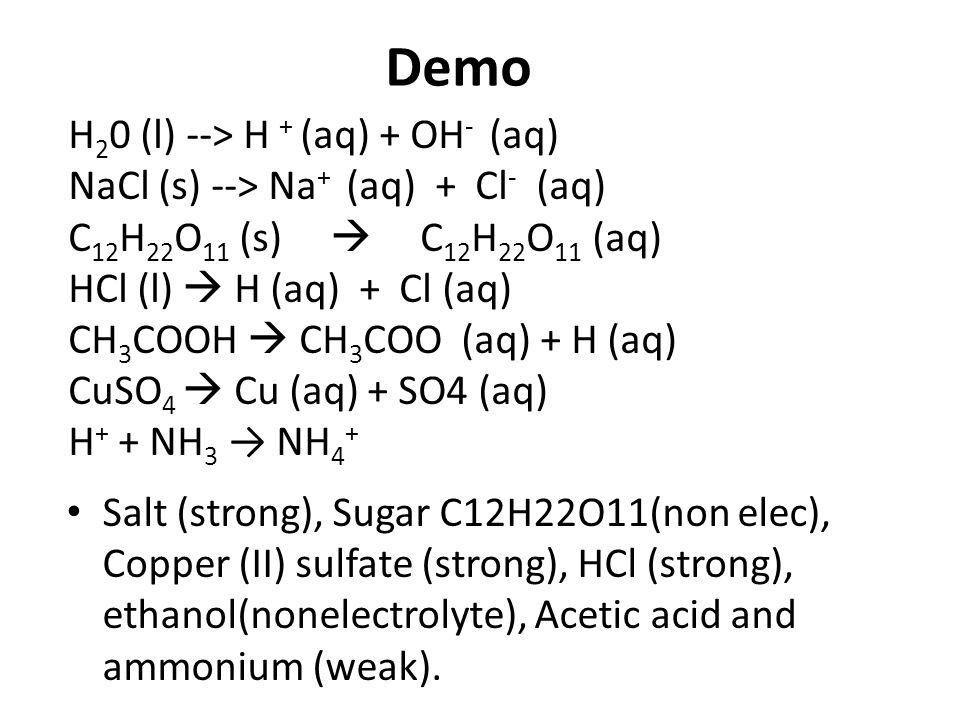 Demo H20 (l) --> H + (aq) + OH- (aq)
