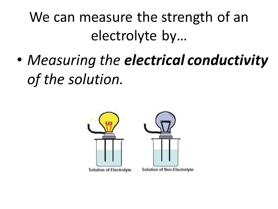 We can measure the strength of an electrolyte by…