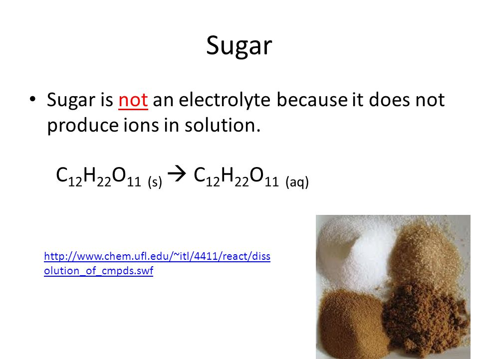 Sugar Sugar is not an electrolyte because it does not produce ions in solution. C12H22O11 (s)  C12H22O11 (aq)