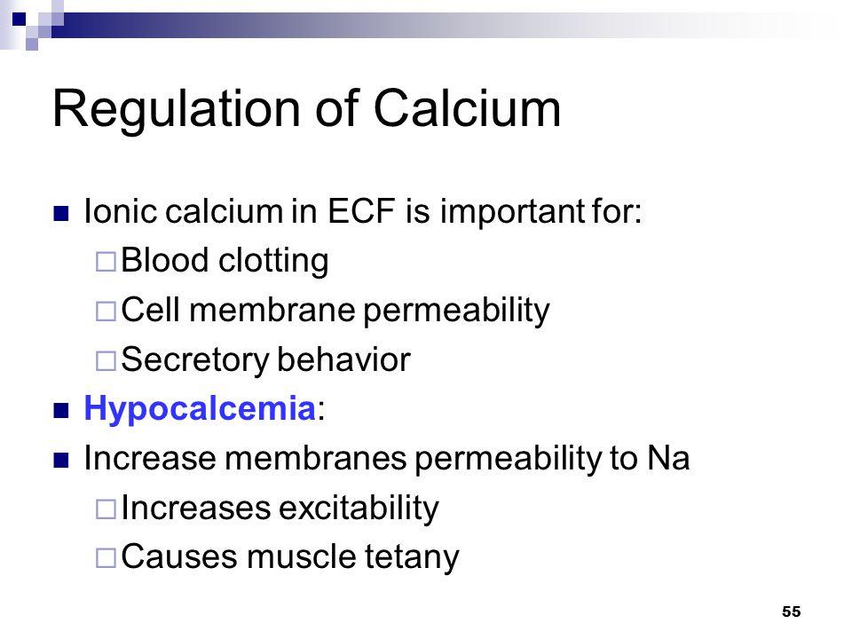 Regulation of Calcium Ionic calcium in ECF is important for: