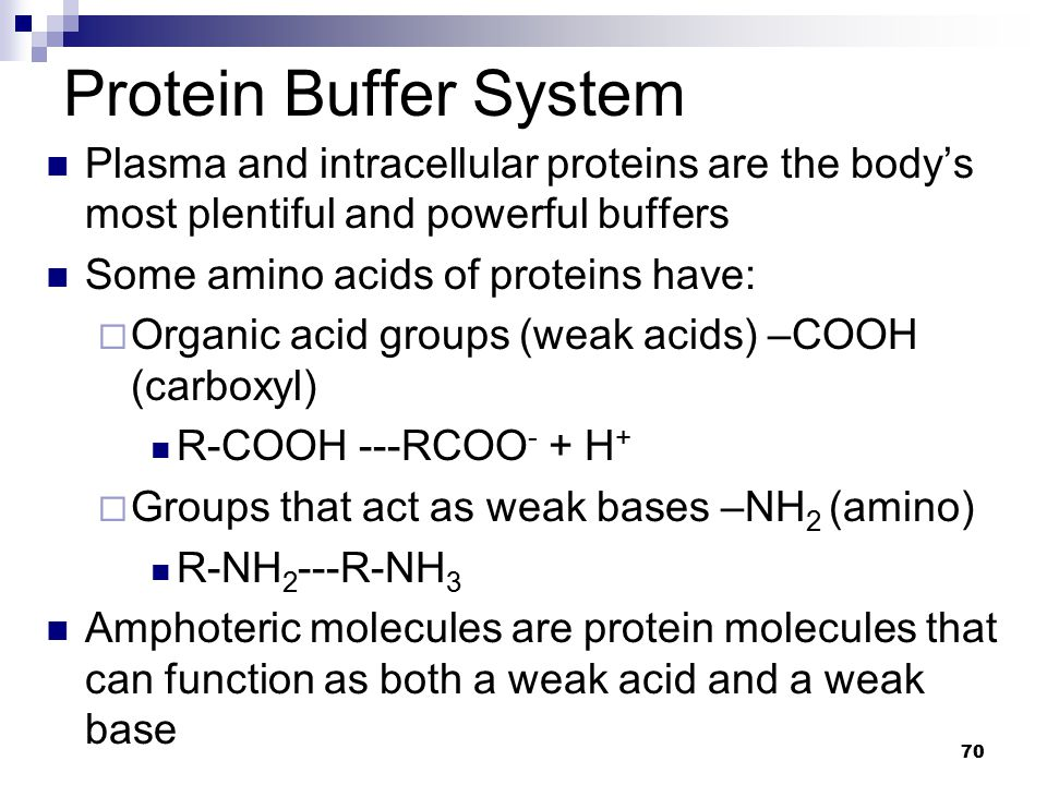 Protein Buffer System Plasma and intracellular proteins are the body's most plentiful and powerful buffers.
