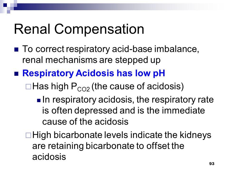 Renal Compensation To correct respiratory acid-base imbalance, renal mechanisms are stepped up. Respiratory Acidosis has low pH.
