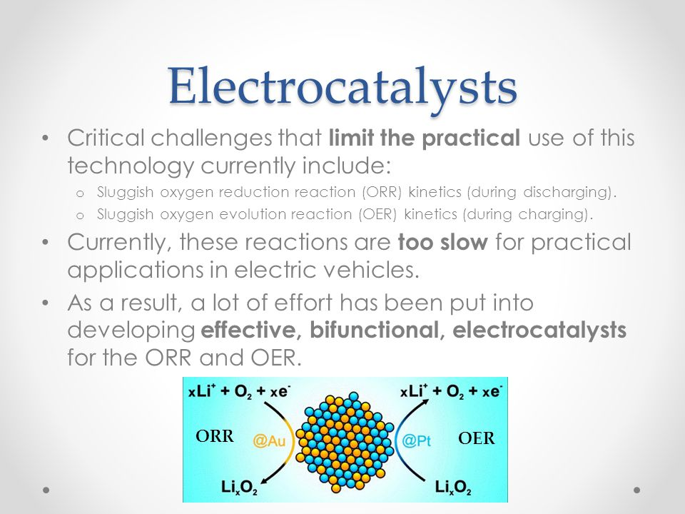 Electrocatalysts Critical challenges that limit the practical use of this technology currently include: