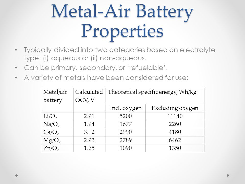 Metal-Air Battery Properties