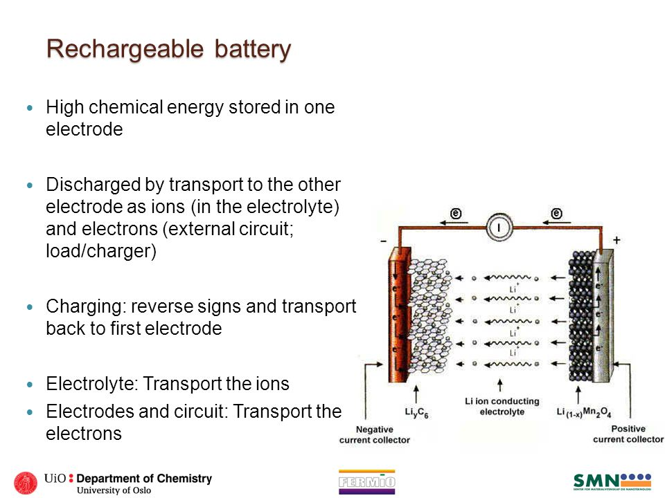 Rechargeable battery High chemical energy stored in one electrode