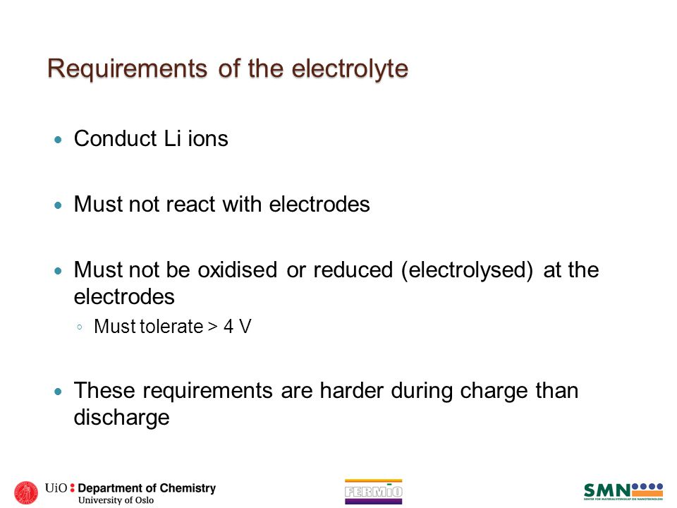 Requirements of the electrolyte