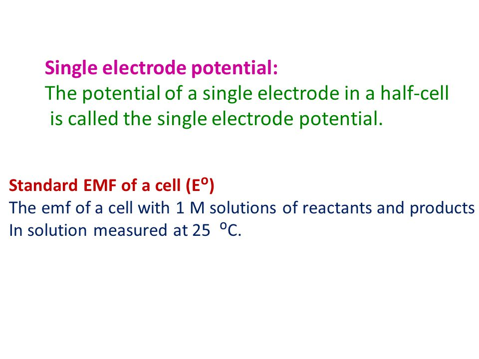 Single electrode potential: