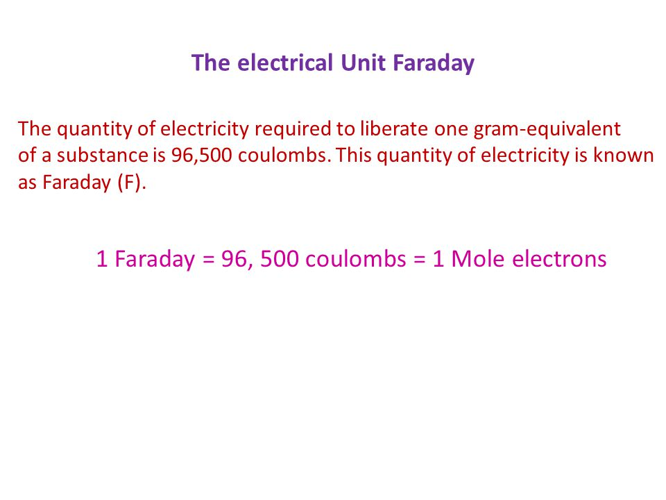The electrical Unit Faraday