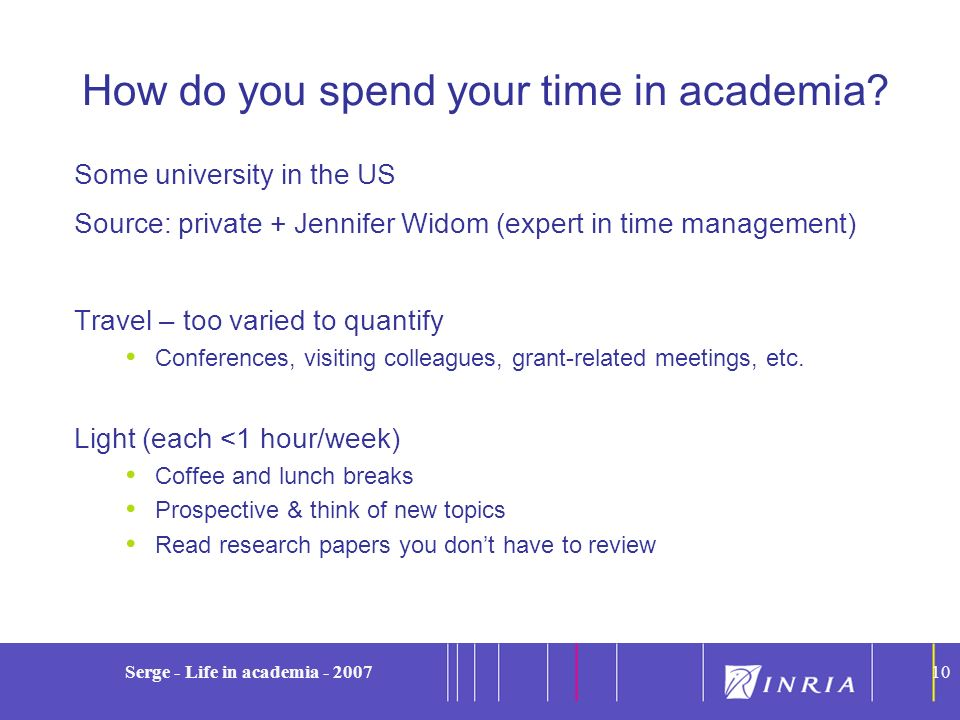 How do you spend your time in academia