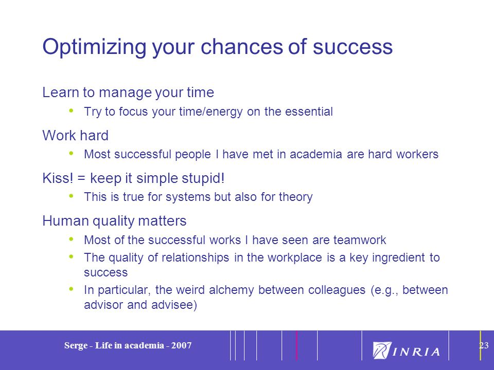 Optimizing your chances of success