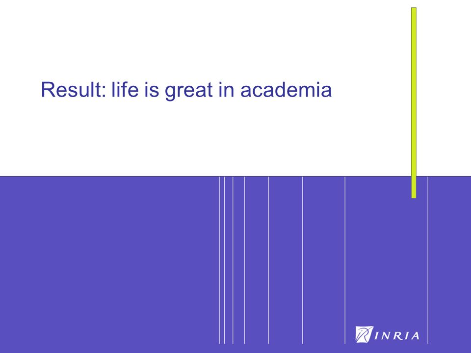 Result: life is great in academia