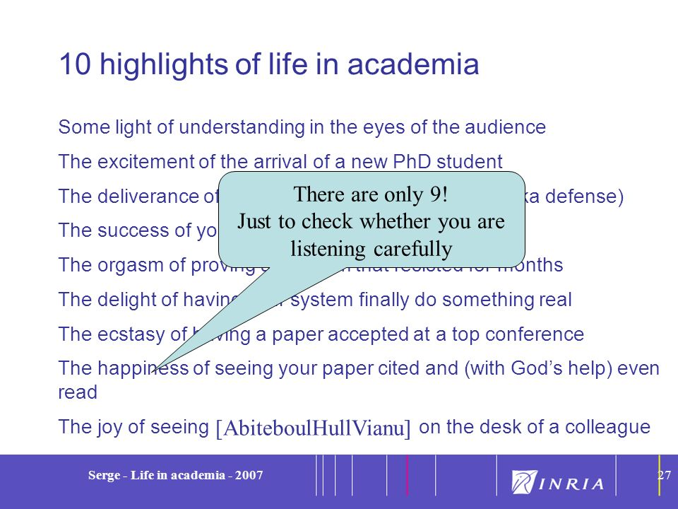 10 highlights of life in academia