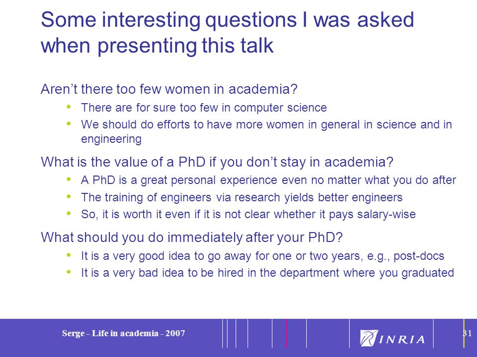 Some interesting questions I was asked when presenting this talk
