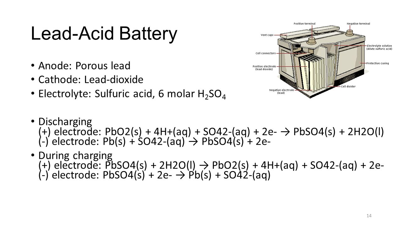 Lead-Acid Battery Anode: Porous lead Cathode: Lead-dioxide