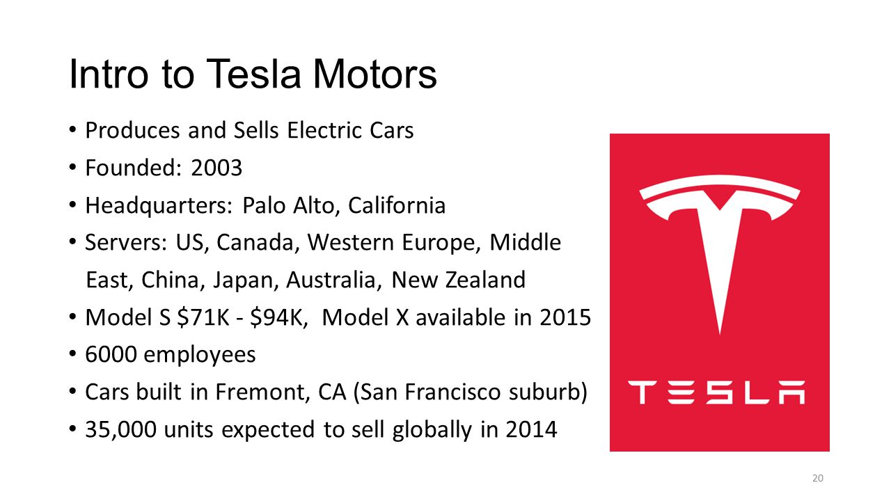 Intro to Tesla Motors Produces and Sells Electric Cars Founded: 2003