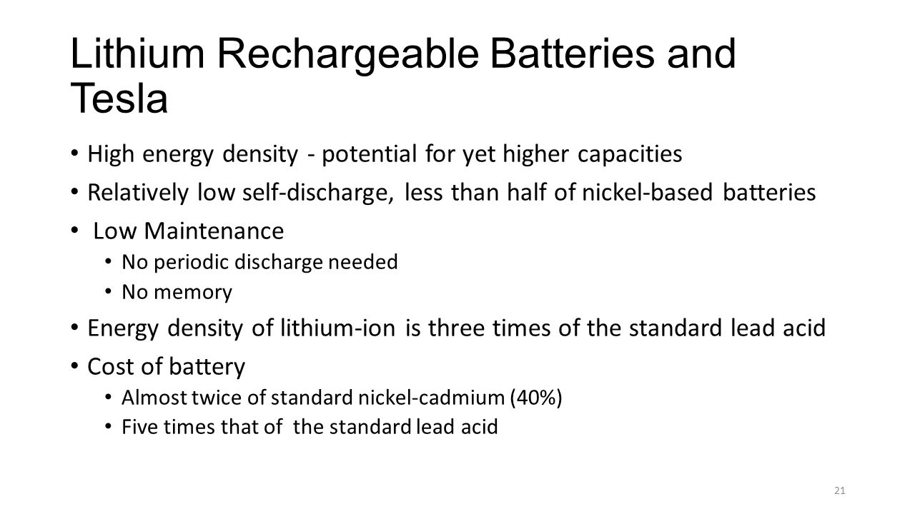 Lithium Rechargeable Batteries and Tesla