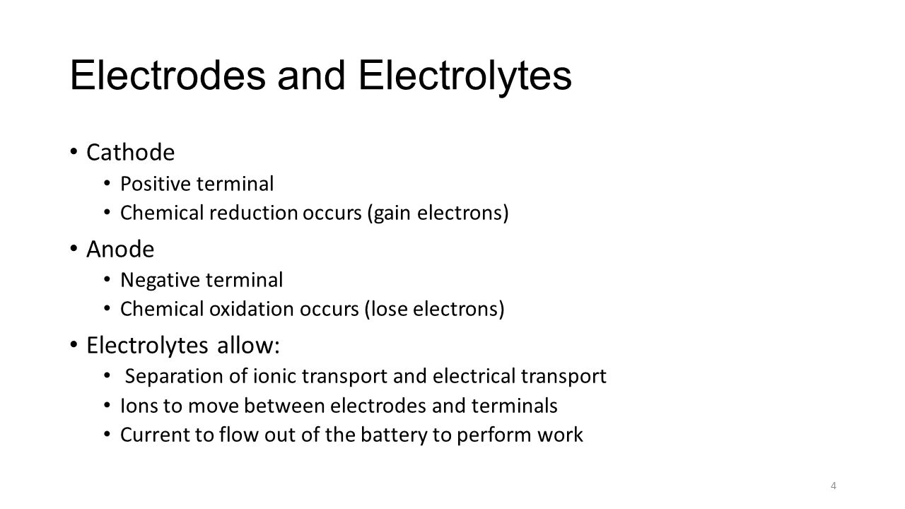 Electrodes and Electrolytes