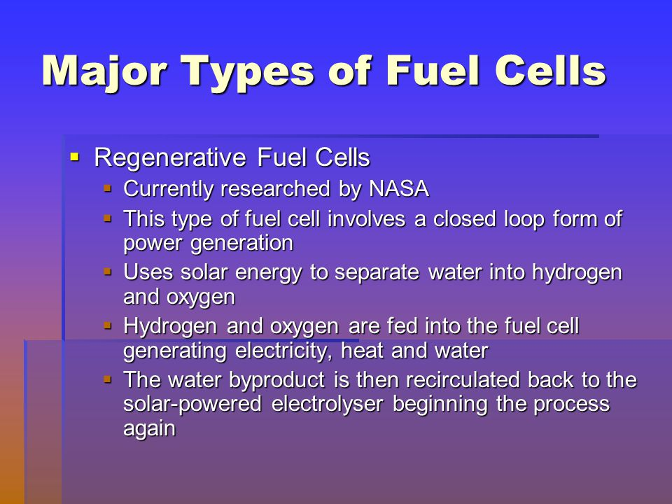 Major Types of Fuel Cells