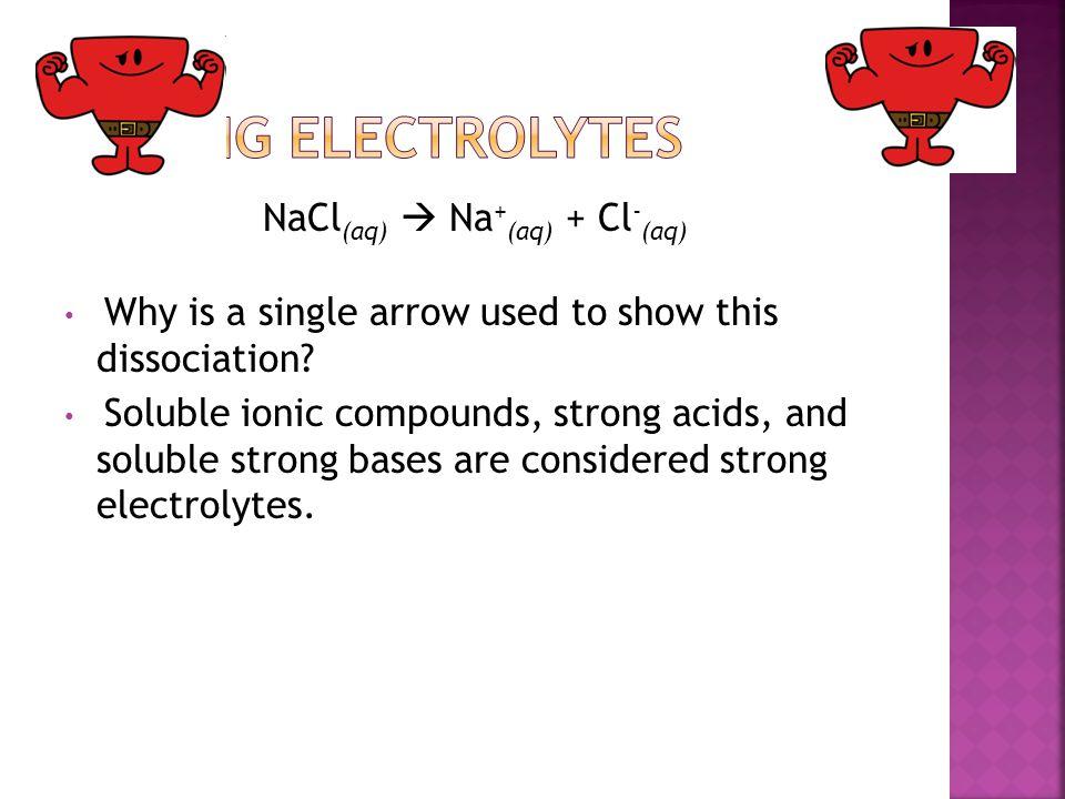 NaCl(aq)  Na+(aq) + Cl-(aq)