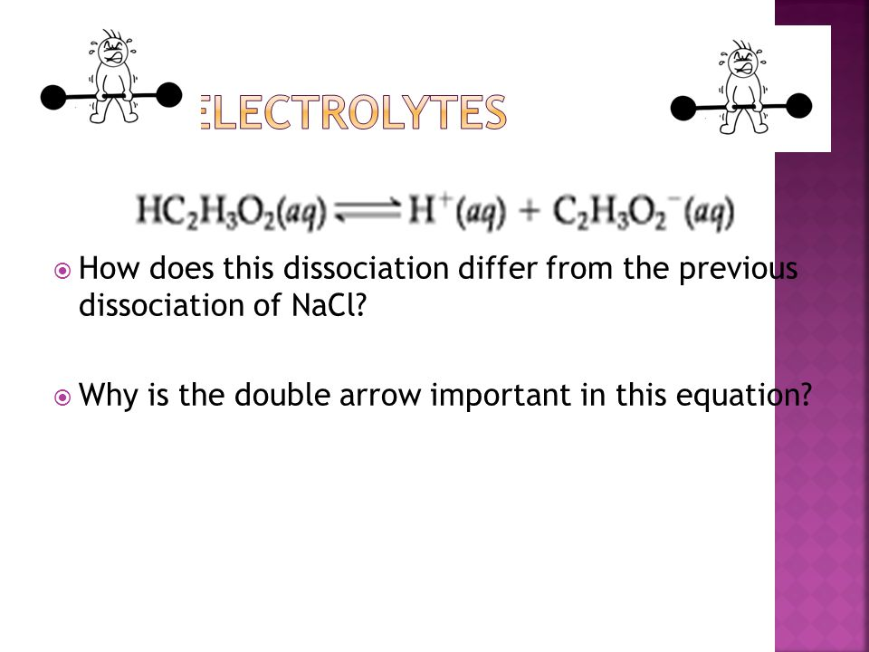 Weak Electrolytes How does this dissociation differ from the previous dissociation of NaCl.