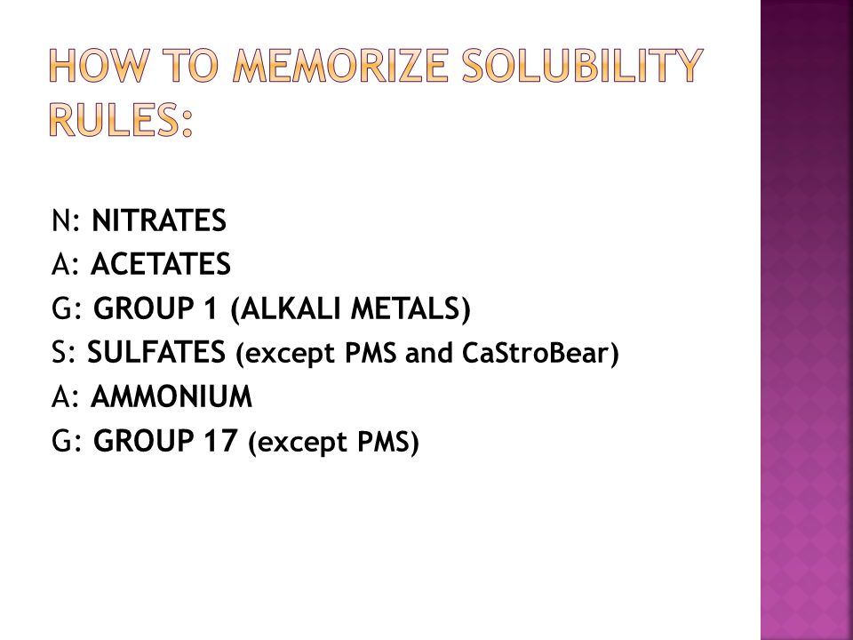 How to memorize solubility rules: