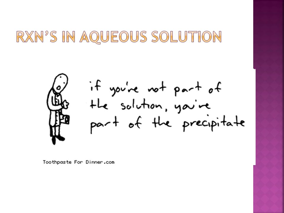 Rxn's in Aqueous Solution