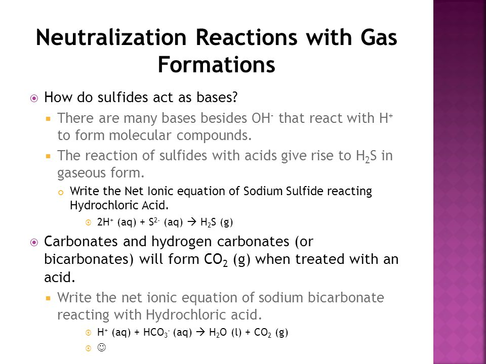 Neutralization Reactions with Gas Formations