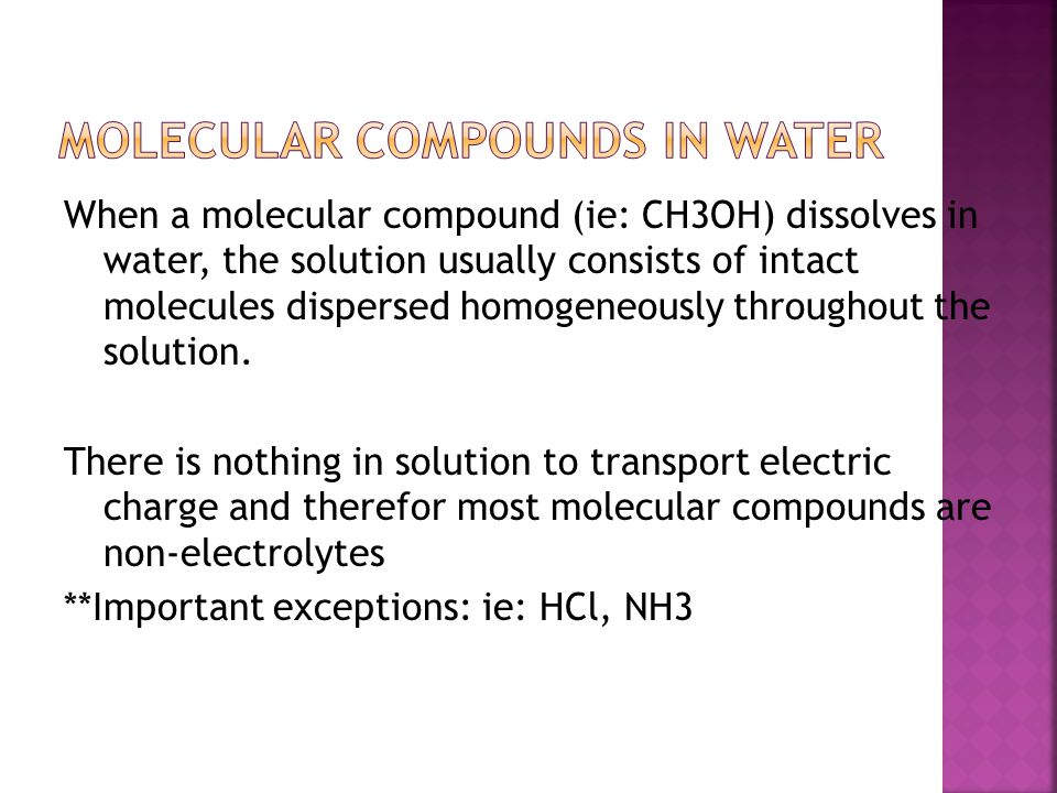 Molecular Compounds in Water