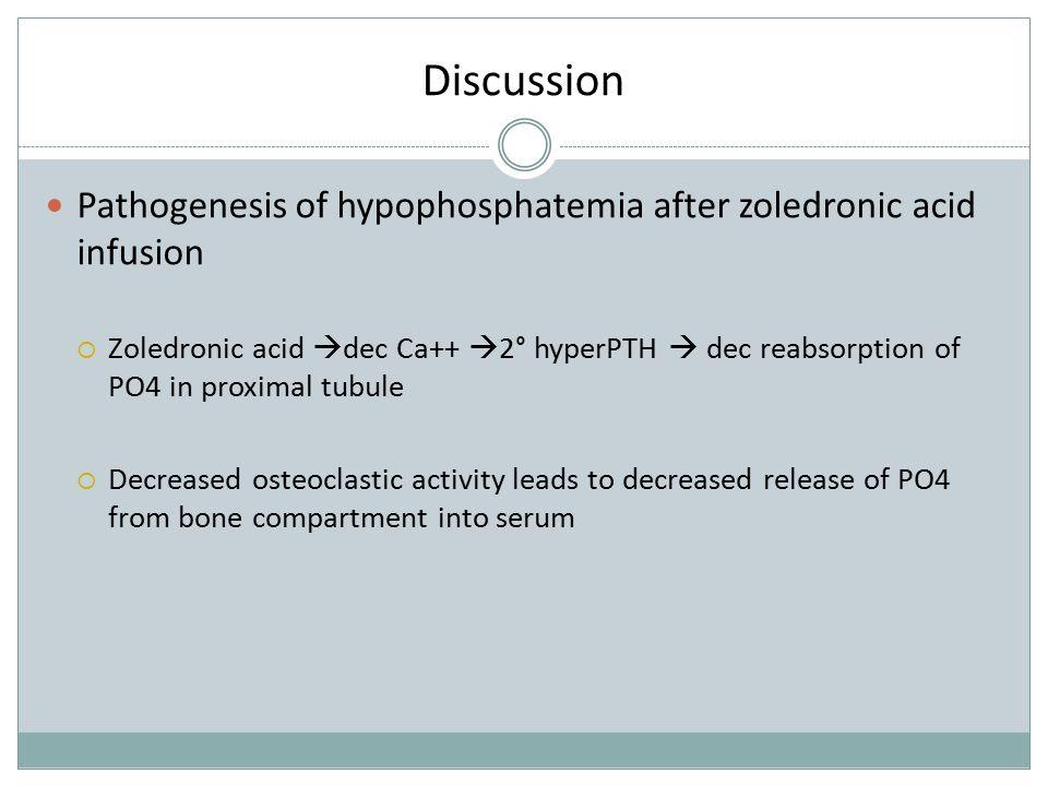Discussion Pathogenesis of hypophosphatemia after zoledronic acid infusion.