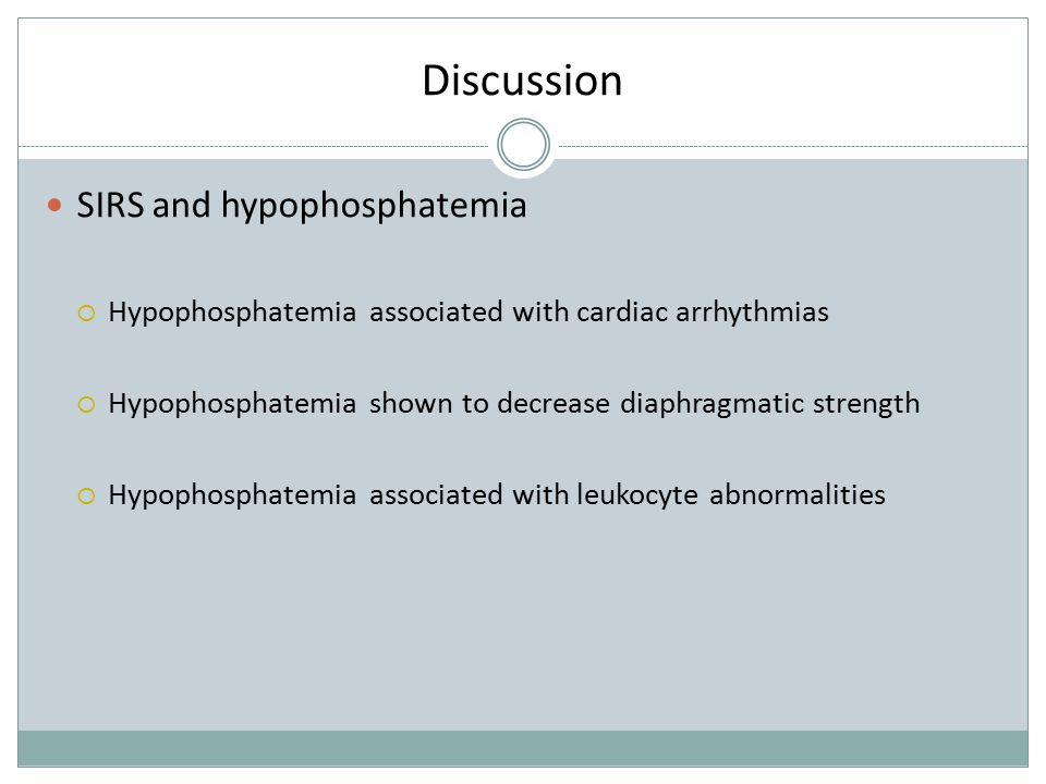 Discussion SIRS and hypophosphatemia