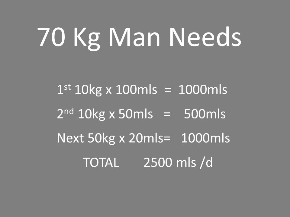 70 Kg Man Needs 1st 10kg x 100mls = 1000mls 2nd 10kg x 50mls = 500mls