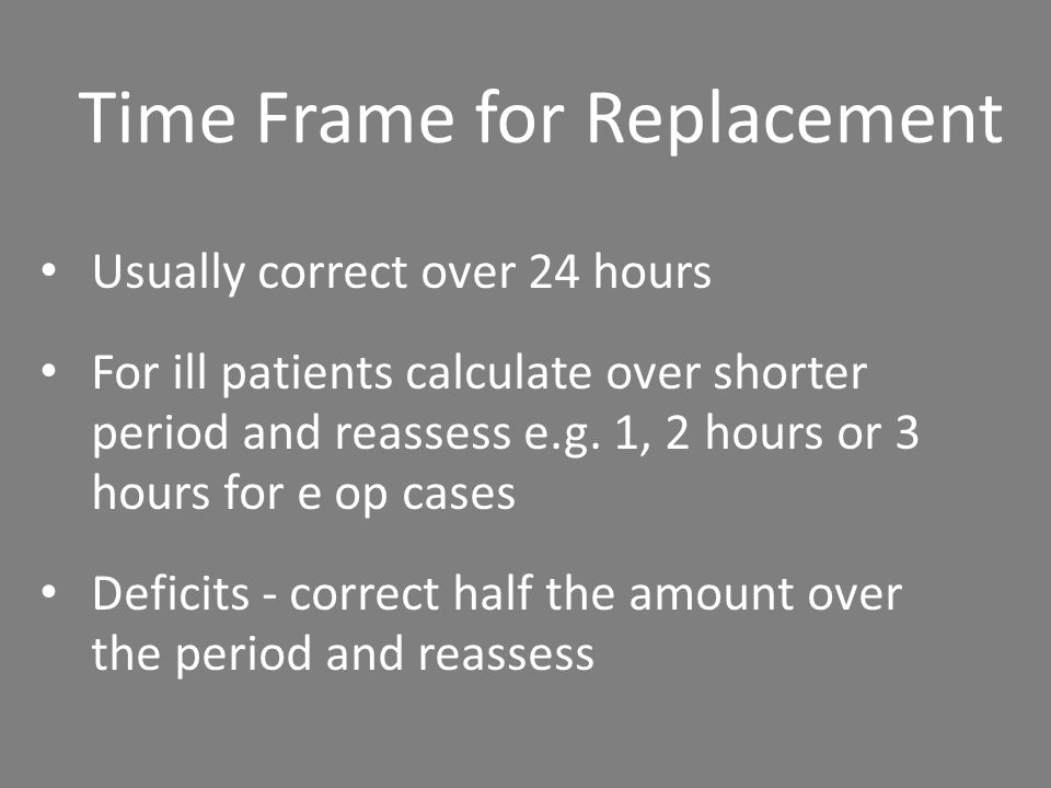 Time Frame for Replacement