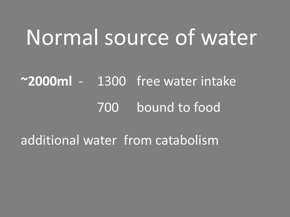 Normal source of water ~2000ml - 1300 free water intake