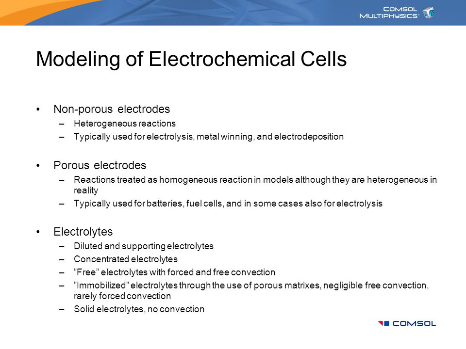 Modeling of Electrochemical Cells