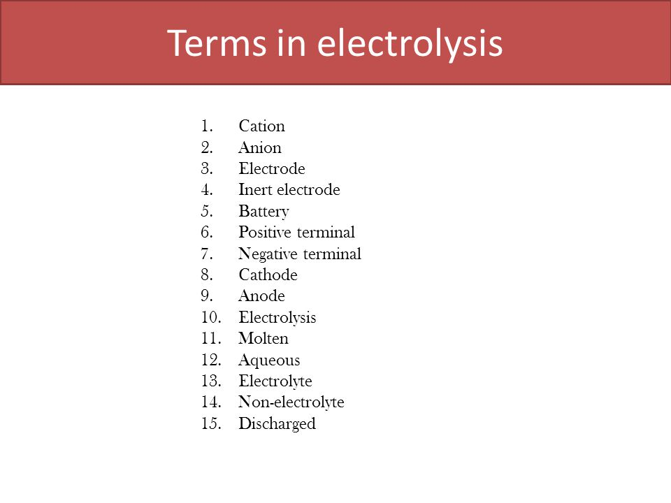 Terms in electrolysis Cation Anion Electrode Inert electrode Battery