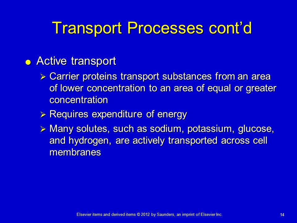 Transport Processes cont'd